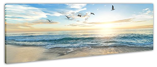 ayra-products Panoramabild Leinwandbild Keilrahmenbild Strand Meer Vögel Sonnenaufgang fertig gerahmt!! (150x50cm) (Vögel Meer)