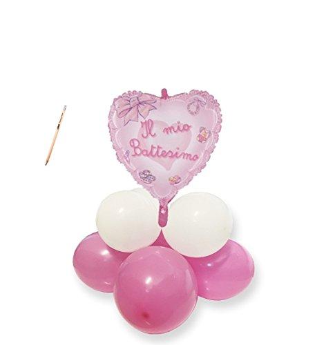 Irpot - centrotavola palloncini battesimo fiocco rosa kit fai da te