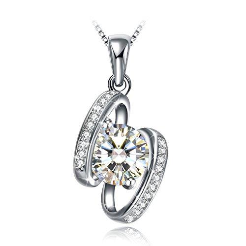 GUNDULA Collar Mujer, Plata de Ley 925 Zirconia [Corazón de Conchas] Envoltura de Regalo, Libre de Alérgenos, Dale Navidad