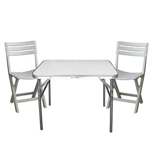 3tlg. Gartengarnitur Klapptisch höhenverstellbar 75x55x60cm + 2X Klappstuhl Birki Kunststoff – Weiss