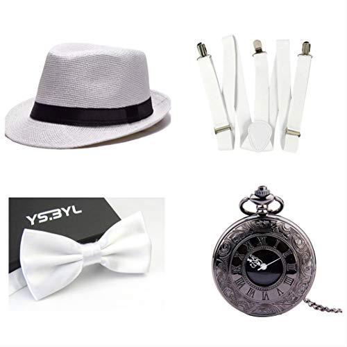 thematys® Cappello Gangster Mafia al Capone + Farfallino + Bretelle + Orologio da Taschino - Set Costumi Anni '20 per Donne e Uomini - Perfetto per Carnevale (6)