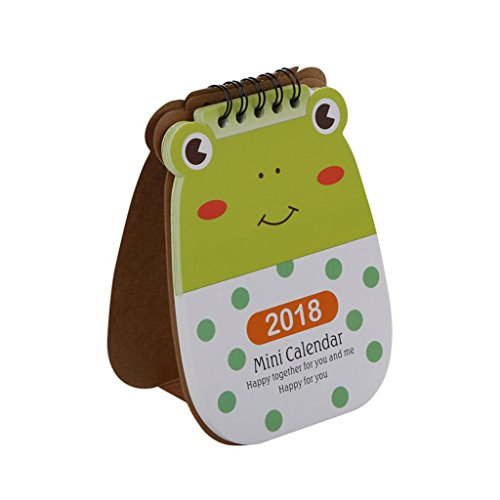 GTIA 2018 Calendar Cute Cartoon Animal Calendar Office Table Flip Stand Calendar Planner (B)