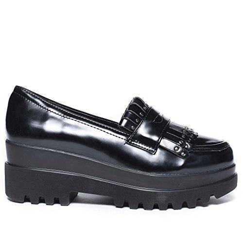 Ideal Shoes Mocassins en Similicuir à Plateforme Aimie Noir