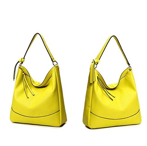 Damen Leder Top-Griff Handtasche Vintage Cross Körper Geldbörse Tasche Yellow