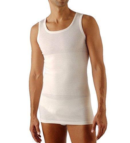 Relaxsan ortopedica 1300 (bianco, tg.2) canotta termica uomo lana e cotone con fascia contenitiva lombare