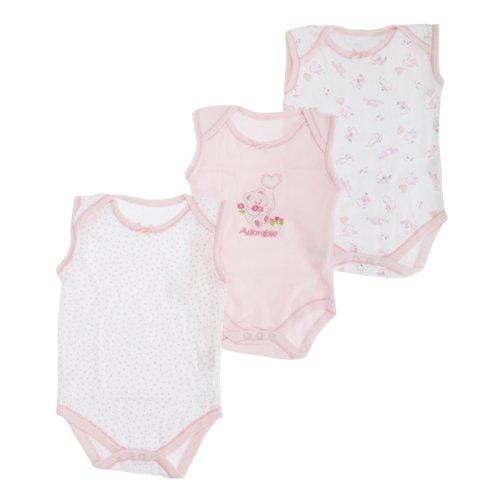 Mädchen Baby Bodys mit Bär Motiv, ärmellos (3 Stück) (86-92 cm) (Rosa)