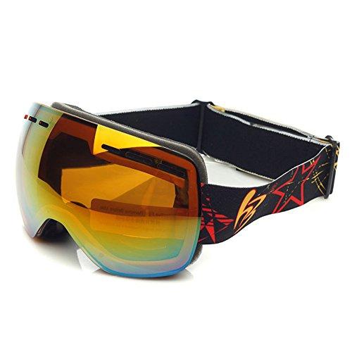 LYLhmj Skibrille Kinder Ski Snowboard Brille Brillenträger Snowboardbrille Schneebrille Verspiegelt - Für Junior Jungen Mädchen Baby Teenager - 3 4 5 6 7 8 9 10 11 12 Jahre - OTG Anti-UV Anti-Fog (Schwarz)