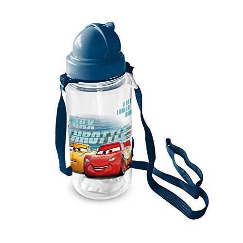 Borraccia - Saetta McQueen Cars 3 Disney Pixar - Con Cannuccia, Tappo e Tracolla - 450 Ml.
