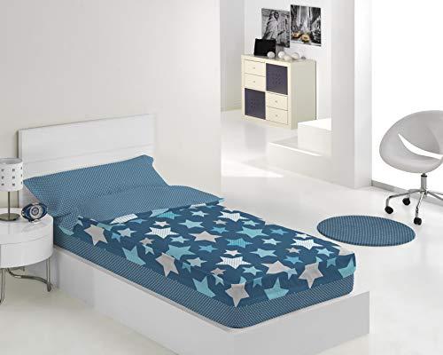 Karamelo Saco Nordico Lleno Stars Azul Cama 90 + Vela