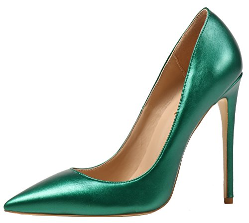 AOOAR Damen High Heel Klassische Abendschuhe Grün PU Pumps EU 35 (Stiletto High Heels Heel)