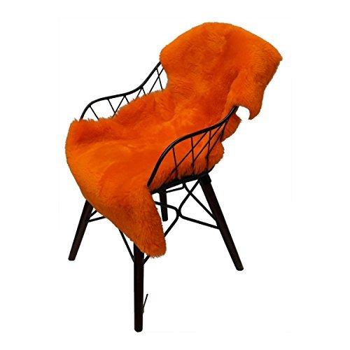 Lammfell geschoren - ORANGE FARBEN Merino Schaffell Läufer Dekoration Sitzunterlage Echt Fell Größe 90-100, Farbe Orange (Fell Orange)