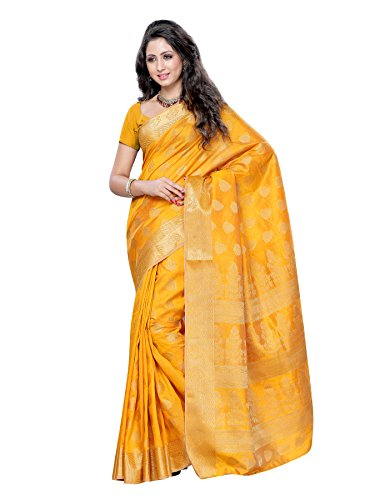 Mimosa Women's Tassar Silk Saree (2039-Mgold,Gold,Free Size)  available at amazon for Rs.1031