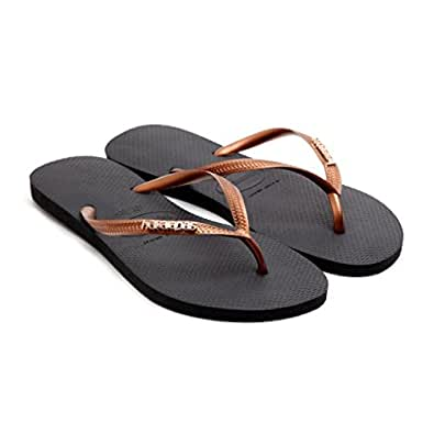 2283ec6b79a95 Havaianas Women Slim Logo Metallic Black Copper Flip Flops Thongs Strap   Amazon.co.uk  Shoes   Bags