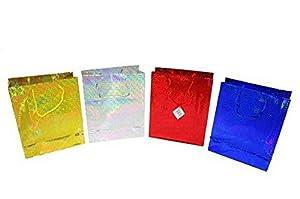 Shatchi 6190-HOLO-GIFT-BAG-MEDIUM-4pcs 4 colores surtidos holográfico regalo pequeño Navidad cumpleaños boda baby shower bolsas de regalo, Multi