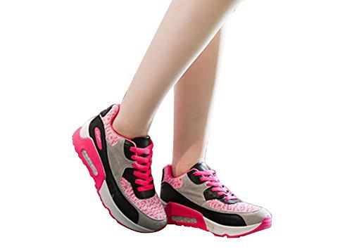 Wealsex Chaussures de Course Running Compétition Sport Entraînement Multisport Outdoor Femme Rouge