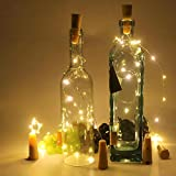 SIHECHIPH 20 LEDs 2M LED Flaschenlicht Warmweiß,LED lichterkette batterie für Flasche DIY Deko Weihnachten,Kupferdraht Stimmungslichter Hochzeit Party