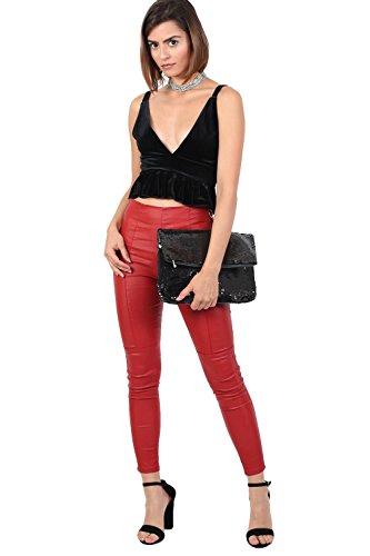 große PILOT® foldover Sequin Handtasche Schwarz EArAq4
