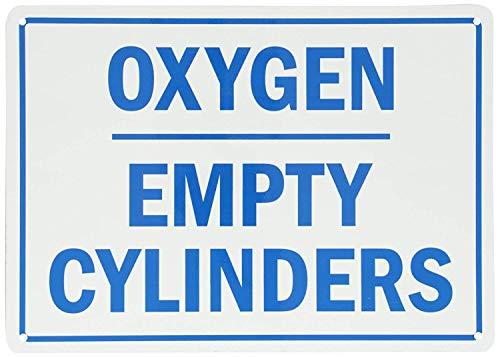 qidushop Türschild Legend Sauerstoff Leer Zylinder Blau auf weiß Metall Garten Deko UV-geschützt & Wasserdicht Plaque 18x 25cm -