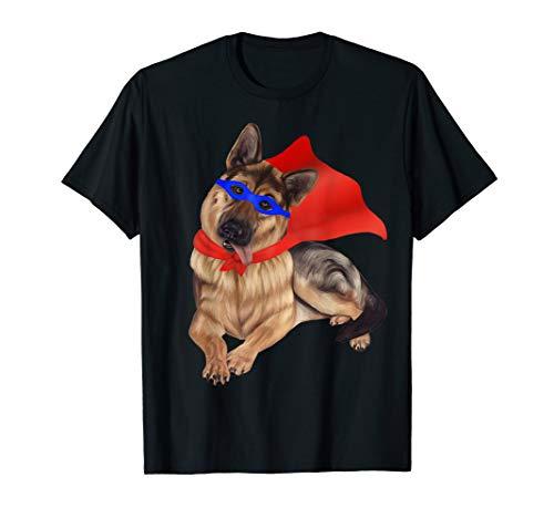 Superheld Deutscher Schäferhund in der Maske und im Kap  T-Shirt