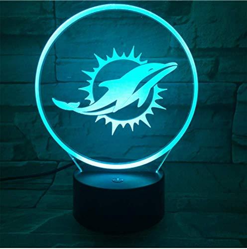 Für Miami Dolphins Nachtlampe, Schlafzimmer USB Touch Kinder Kinder Geschenk Team Logo Led Nachtlicht American Football