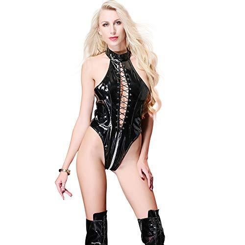 Frauen Sexy Unterwäsche DS Show Kleidung Zipper Jumpsuit Leder-Straps Tube Dance Thong Open High Collar Swimwear Latex Bodysuit,Black,L