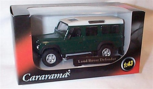 cararama dark green & white LWB land rover defender 1.43 scale diecast model