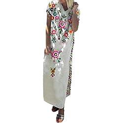 AG&T★ Robe de Plage Femme Boheme Grande Taille Robe ete Femme Boho Longue Chic Fleurie à Bretelle