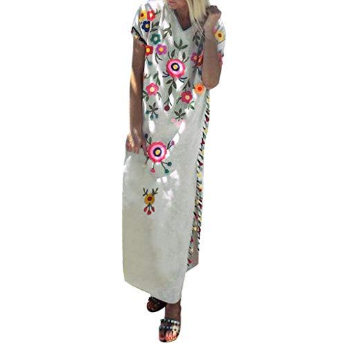 Empire Taille Seide Bluse (POPLY Frauen Langes Kleid Böhmischen Stil ärmellose Lose Blumen Gedruckte Quaste Lose Sommerkleid Plus Größe Strandkleider(Beige,L))