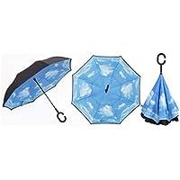 Jiobapiongxin Paraguas de Coche Reversible de Dos Capas a Prueba de Viento del Paraguas del Coche del Estilo empresarial