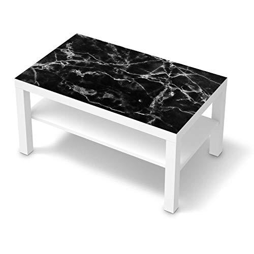creatisto Möbelfolie selbstklebend passend für IKEA Lack Tisch 90x55 cm I Möbelaufkleber - Möbel-Sticker Aufkleber Folie I Deko Wohnung für Schlafzimmer und Wohnzimmer - Design: Marmor schwarz