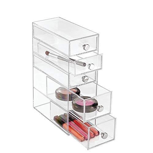 InterDesign Drawers Schubladenturm   Badezimmerablage mit 5 Schubladen für Kosmetik & Accessoires   Schubladenbox auch für Büro- und Bastelbedarf   Kunststoff transparent