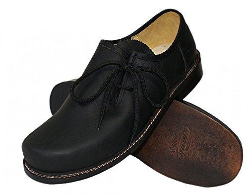 40-48 Trachtenschuhe Haferlschuhe Glattleder schwarz Trachten-Schuhe Ledersohle, Größe:40