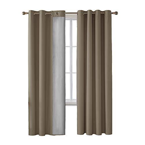 Deconovo tende termiche isolanti con occhielli per casa moderne 100% poliestere cachi 140x240 cm due pannelli