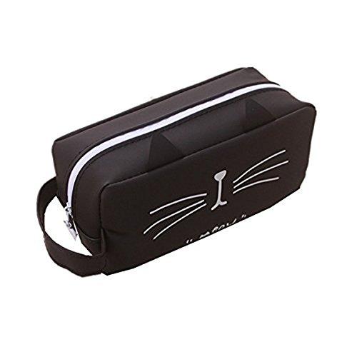 Unicoco - Estuche para lápices con diseño de gatos, de fieltro, de gel de sílice, 4 diseños diferentes, para papelería o suministros escolares, muy usado por estudiantes, color negro 17.5
