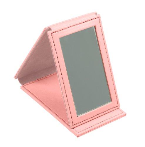 Lucrin Trousse à Maquillage Miroir Rectangulaire de Poche Cuir Vachette Lisse 11 cm Rose PM1095_VCLS_RSS