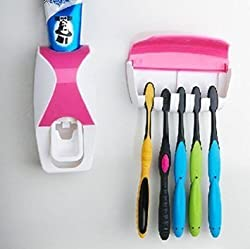 Hands Free Toothpaste Dispenser (2 Colors) Wall Mounted Toothbrush Holder Set (5 Brushes Hanging) Easy Install & No More Mess