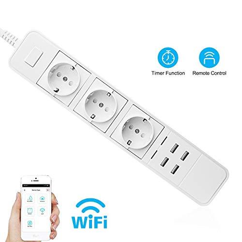 JIEJIEZ WiFi Smart Power Strip USB-Ladegerät, 3AC mit 4USB WiFi-Reihe nach europäischem Standard Kabelloser Multifunktions-Überspannungsschutz (ABS + PC) nach europäischem Standard