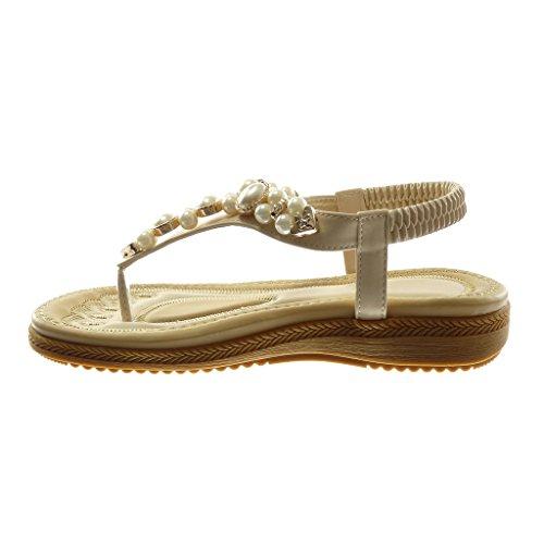 Angkorly Scarpe Moda Sandali Infradito con Cinturino Alla Caviglia Donna Perla Gioielli Tacco Zeppa Piattaforma 2.5 cm Beige