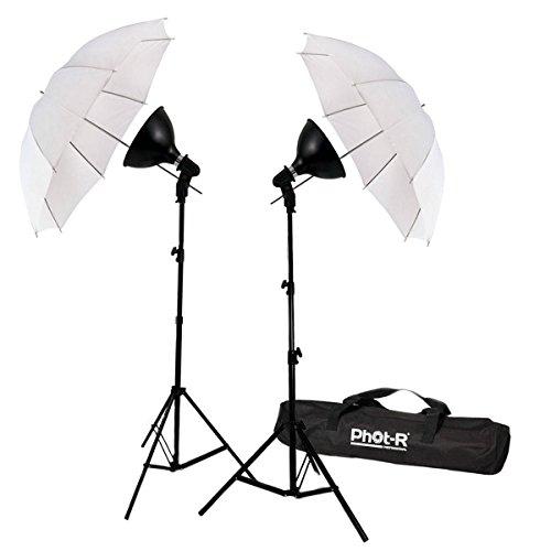 Phot-R 2000W Dual-Studio-Beleuchtung Kit E27 mit 2X 200W 5500K Birnen 2X 33 Lichtschirme 2X 80-200cm Light Stand 2X Reflektorschüssel + Carry Bag Professionelle Porträt Produkt für Videoaufnahme Photo Umbrella Light Studio