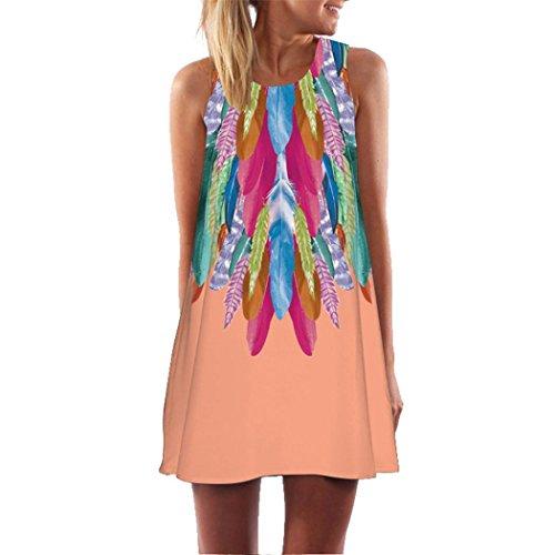 UFACE Promotionen Lady Retro Digital Printed Hals Weste Kleid Frauen Lose Sommer Vintage äRmellose 3D Blumendruck Bohe Tank Short Mini Dress (M, Orange) -