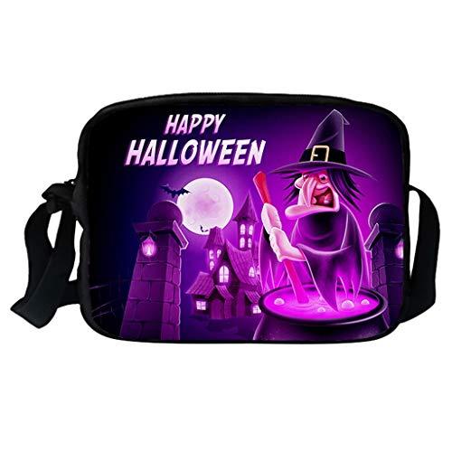 Feytuo Rucksack Paare Männer und Frauen Halloween Kürbis Umhängetasche Casual Messenger Bag