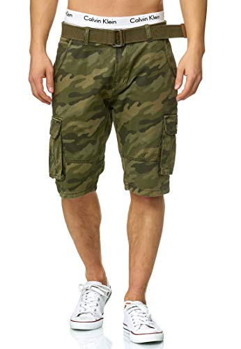 Indicode Herren Monroe Cargo ZA Cargo Shorts Bermuda Kurze Hose mit Gürtel Dired Camouflage M
