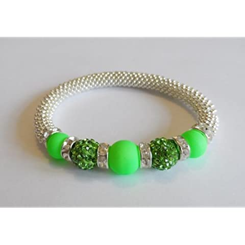 1 x Stunning Snowflake Neon Lime Glass & Peridot Clay Disco Bead Bling Stretch Bracelet Kit. No Tools Required! by Angel Malone - Tie Nail Knot