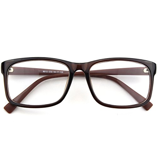 CGID CN12 Brille Extra Schmaler Rahmen! Slim Rechteck Nerd Clear Brille,Braun