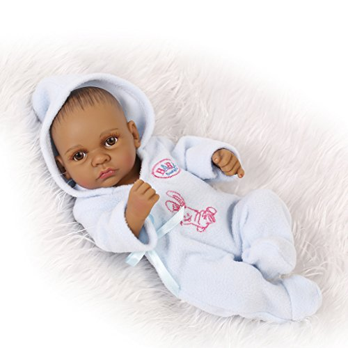 Nicery Peau Reborn Bébé Bain Poupée Indien Noir Style Vinyle Silicone Simulation dur 10inch 26cm enfant étanche Jouet Blue Garçon avec les yeux acryliques Baby Doll Cadeau de Noël