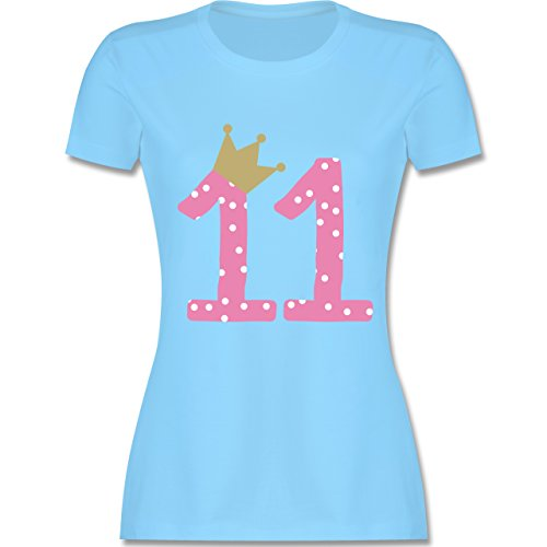Geburtstag - 11. Geburtstag Krone Mädchen Elfter - tailliertes Premium T-Shirt mit Rundhalsausschnitt für Damen Hellblau