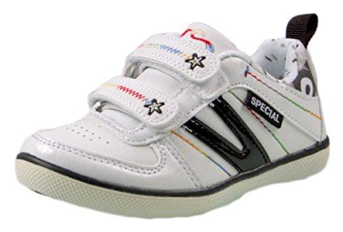 Kinder Sneaker Schuhe Mädchen Jungs Schwarz Weiß Rosa Pink Turn Sport Halbschuhe Weiß-Schwarz