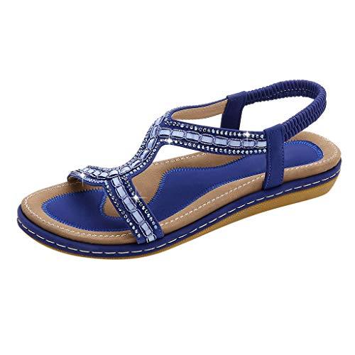 FNKDOR Schuhe Böhmisch Perlenstickerei Sandalen Damen Flacher Boden Weicher Boden Peep-Toe Gummiband Slingback Strand Peep-Toe Sandals Blau 37 EU -