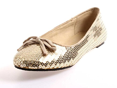 Buffalo farbiger Ballerina Pailetten Schuhe Damen Sommerschuhe Slipper 32704 Gold