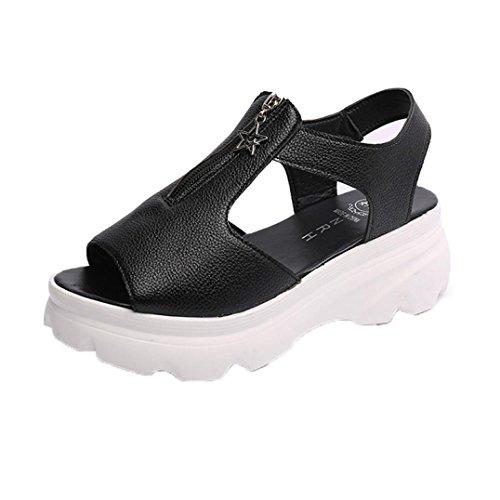 Transer ® Fashion femmes haut talon plat sandales d'été chaussons (Matériel: Cuir artificiel / Tissu de coton) Noir(Cuir artificiel)